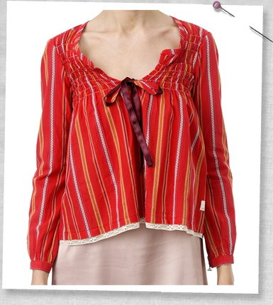 Odd Molly #329 Long Sleeve Blouse, RED