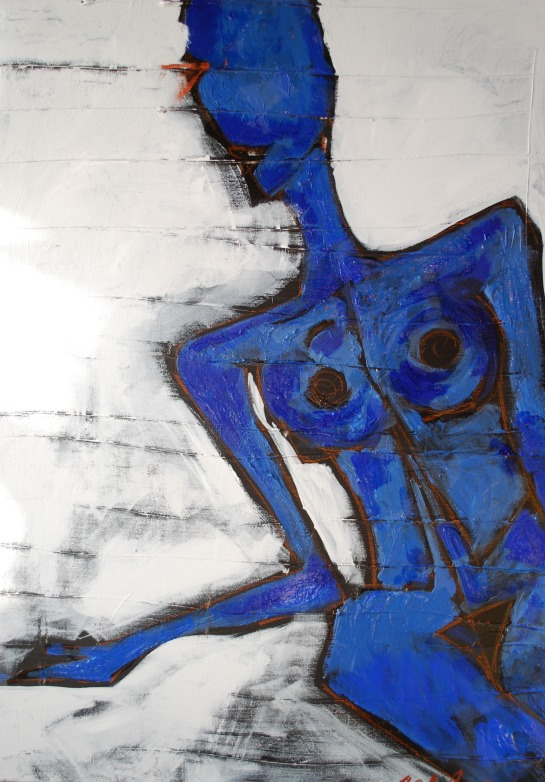 Blue Nude Canvas, By Amy Glase