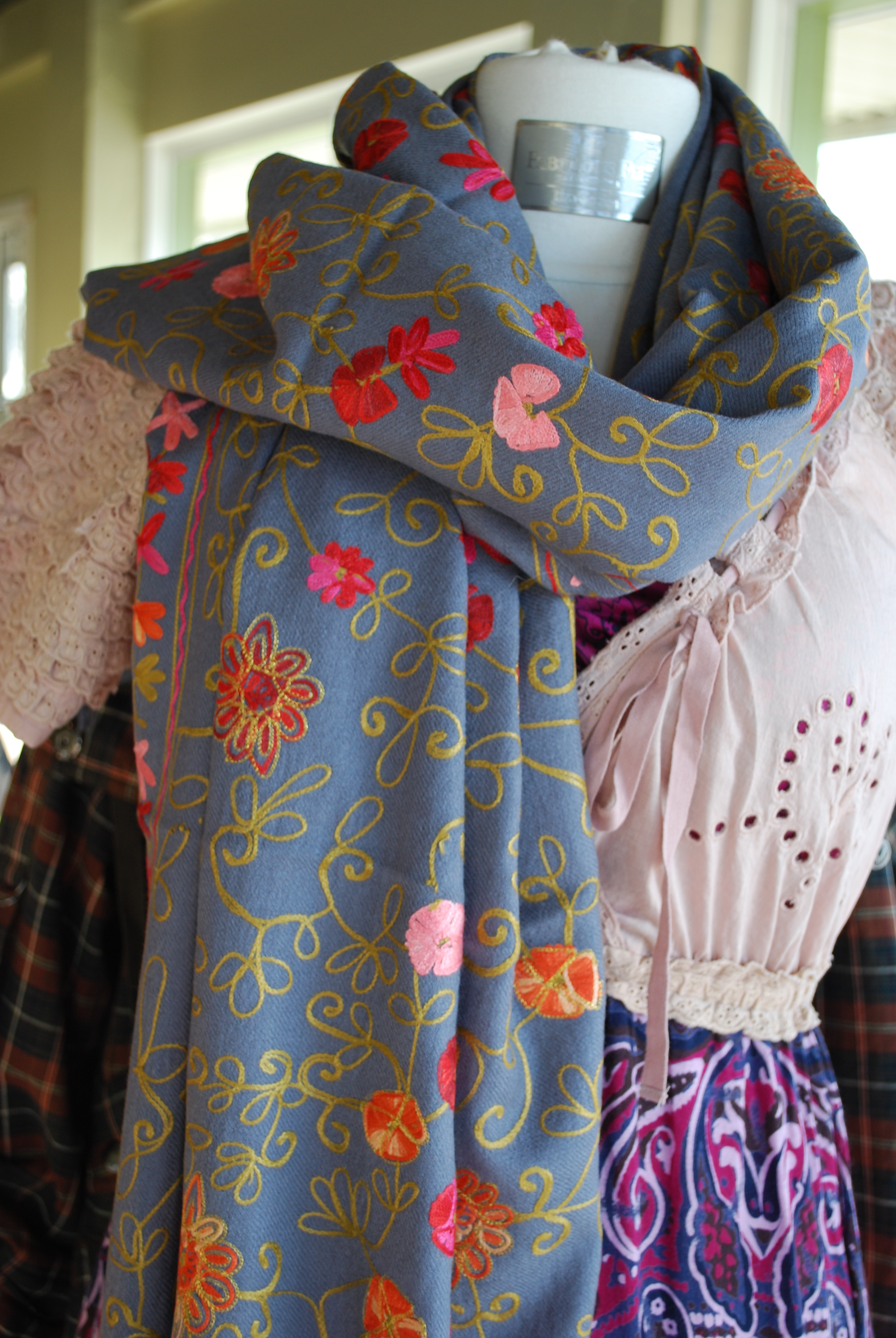 beautiful embroidered scarves by blue pacific